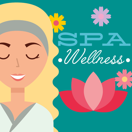 beautiful woman portrait flowers card spa wellness vector illustration