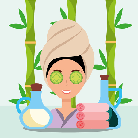 woman with towel on head gel lotion towels floral spa wellness vector illustration Illustration