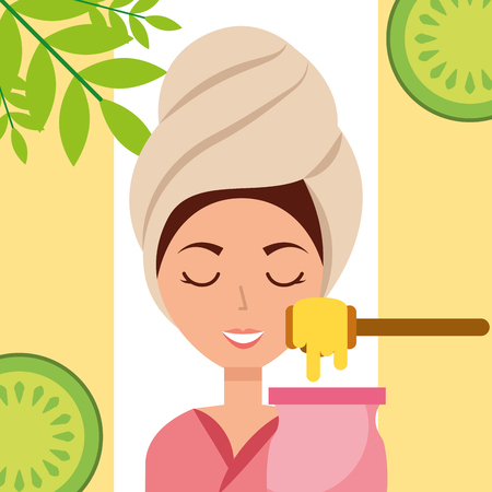 woman with towel on head depilatory wax fruits spa wellness vector illustration