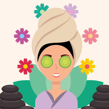 woman with towel on head eye cucumber stones therapy spa wellness vector illustration Ilustração