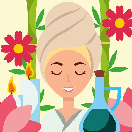 woman with towel on head oil massage candles and flowers spa wellness vector illustration Stock Vector - 102989491