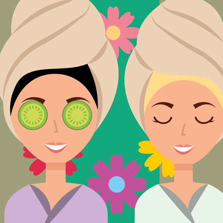 women with towel on head flowers spa wellness vector illustration