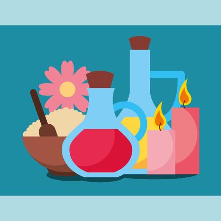 massage oil lotion peeling and candles aromatic spa wellness vector illustration Çizim