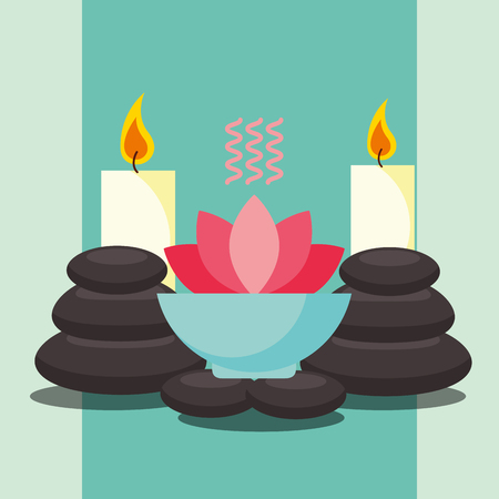 aromatherapy lotus flower massage stone and candles spa wellness vector illustration