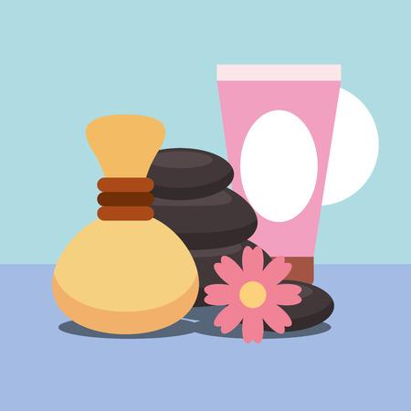 hot compress gel massage stone flower spa wellness vector illustration