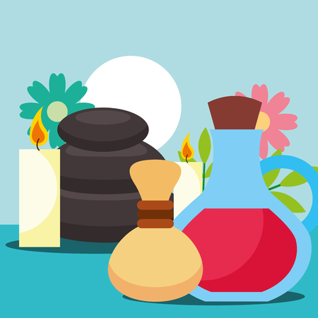 hot compress oil massage stone candles flowers spa wellness vector illustration