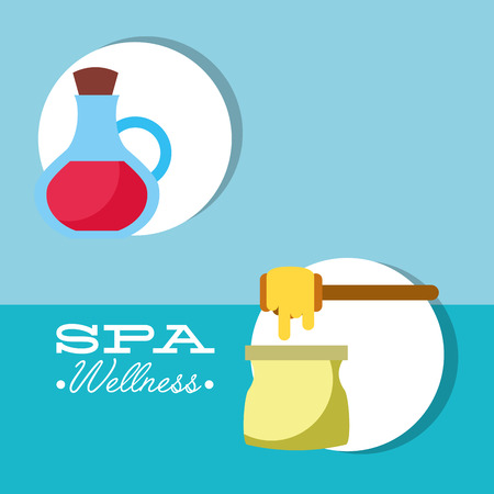 depilatory wax and oil massage treatment therapy care skin spa wellness vector illustration