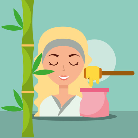 beautiful woman with depilatory wax herbal spa wellness vector illustration