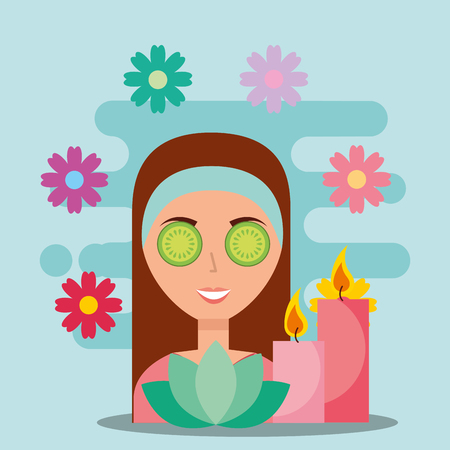 beautiful woman eye cucumber candle aroma spa wellness vector illustration Illustration