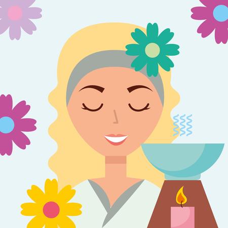 beautiful woman aromatherapy candle flowers spa wellness vector illustration Ilustração