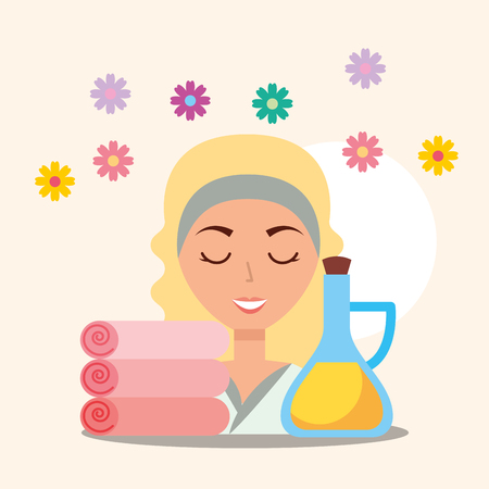 beautiful woman massage oil towels and flowers spa wellness vector illustration Illustration