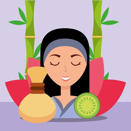 beautiful woman hot compress fruit flower herbal spa wellness vector illustration Archivio Fotografico - 102999319