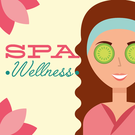 beautiful woman eye cucumber lotus flowers spa wellness vector illustration