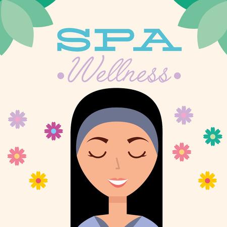 beautiful woman portrait floral spa wellness vector illustration Illusztráció