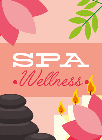 spa wellness massage stone candles and flower poster vector illustration