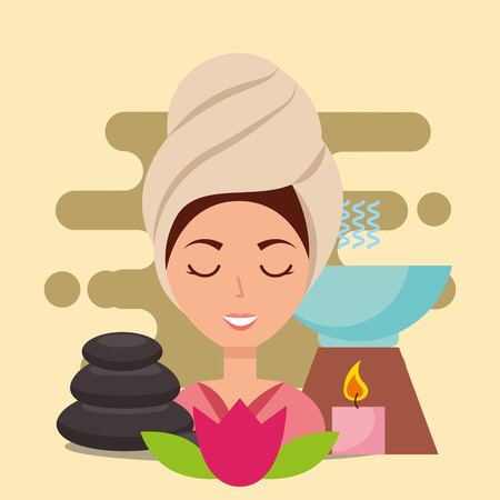 woman with towel on head aromatherapy stone candle flower spa wellness vector illustration