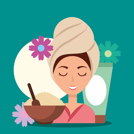 woman with towel on head peeling lotion spa wellness vector illustration