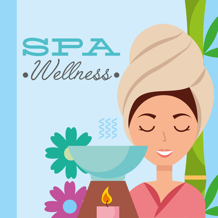 woman with towel on head aromatherapy candle flower spa wellness vector illustration Иллюстрация