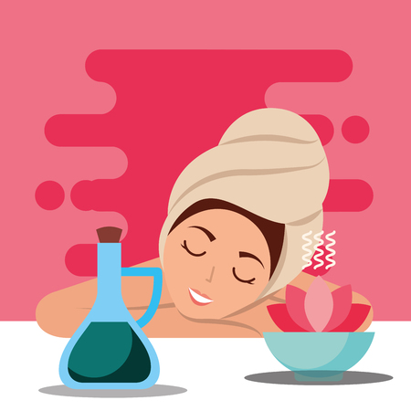 woman with towel on head relaxing aromatherapy spa wellness vector illustration Illustration