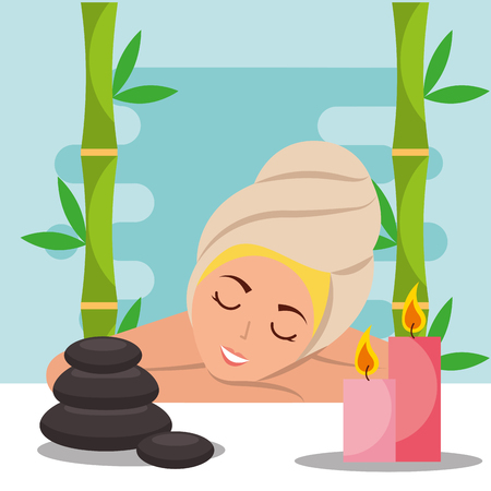 woman with towel on head lying stone candles spa wellness vector illustration