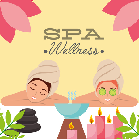 two woman with towel on head aromatherapy candles spa wellness vector illustration