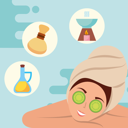 woman with towel on head compress aroma and oil spa wellness vector illustration Archivio Fotografico - 102989519