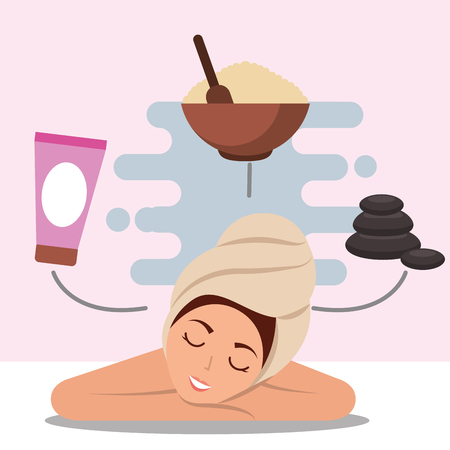 woman with towel on head massage stone salt and lotion spa wellness vector illustration
