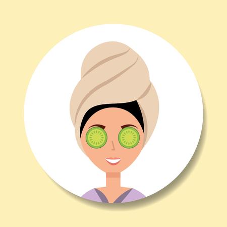 woman with towel on head eye cucumber spa wellness vector illustration