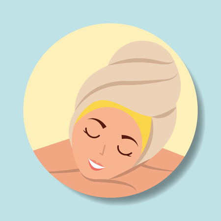 woman with towel on head resting portrait spa wellness vector illustration 向量圖像