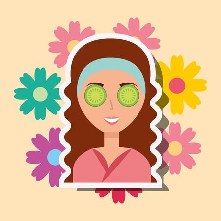 cute woman eye cucumber portrait flowers decoration spa vector illustration