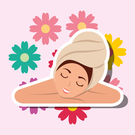 woman with towel on head resting flowers decoration spa wellness vector illustration
