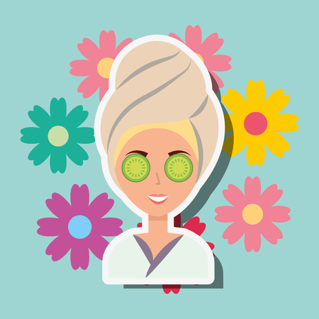 woman with towel on head eye cucumber flowers spa wellness vector illustration