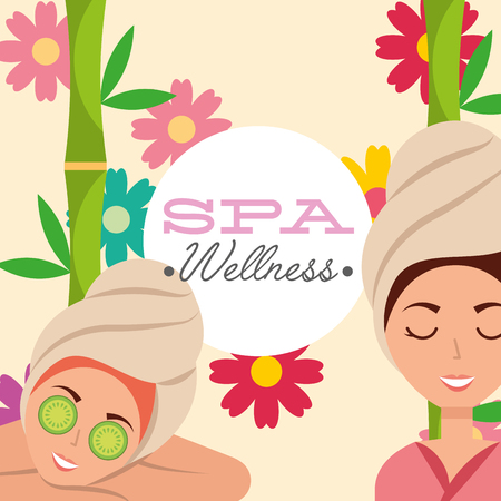woman with towel on head skin care beautiful spa wellness vector illustration