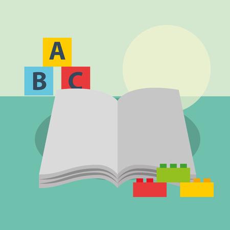 open book blocks alphabet and plastic pieces bricks vector illustration Illustration