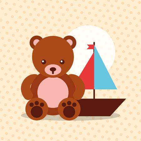 toys bear teddy bear and sailboat vector illustration