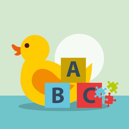 toys rubber duck puzzle and blocks alphabet vector illustration Stock Illustratie