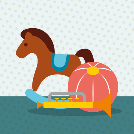 rocking horse trumpet and plastic ball toys vector illustration