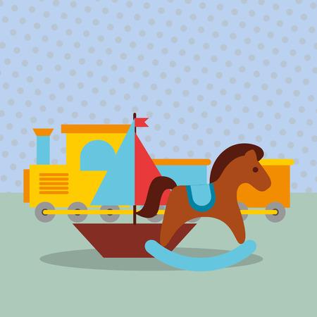 rocking horse train wagon sailboat toys vector illustration