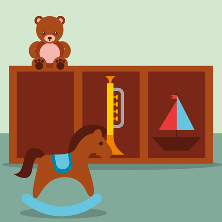 rocking horse trumpet teddy and sailboat in furniture toys vector illustration