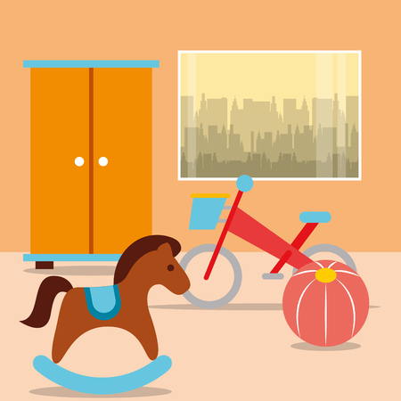 rocking horse bike ball with closet in room vector illustration