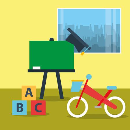 toys bike blocks alphabet and chalkboard in classroom vector illustration Illustration