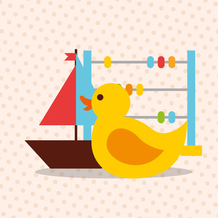 toys duck abacus and sailboat vector illustration