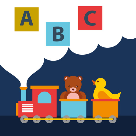 bear teddy and duck in train wagon blocks alphabet toys vector illustration