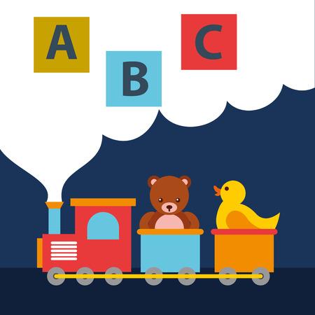 Oso de peluche y pato en vagón de tren bloques alfabeto juguetes ilustración vectorial