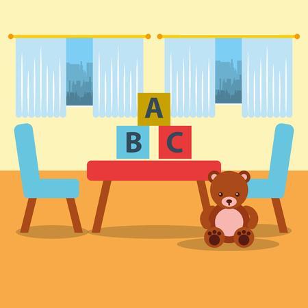 classroom table chair bear teddy blocks and window vector illustration
