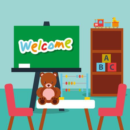 classroom  chalkboard teddy abacus blocks alphabet shelf vector illustration Stock Illustratie