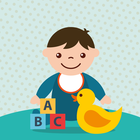 cute toddler boy blocks alphabet and duck toys vector illustration Banque d'images - 102989549