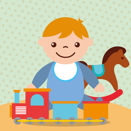 cute toddler boy with rocking horse train wagons toys vector illustration