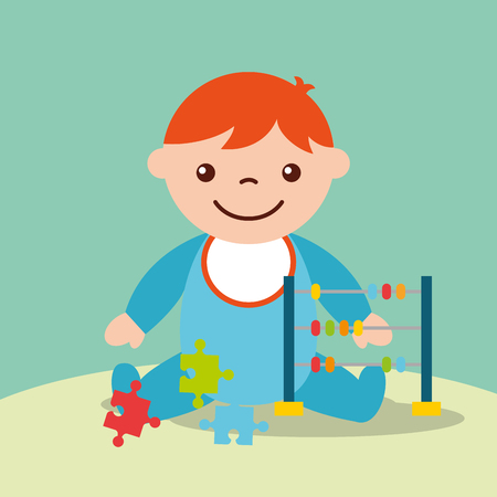 cute toddler boy with toys abacus and puzzles vector illustration