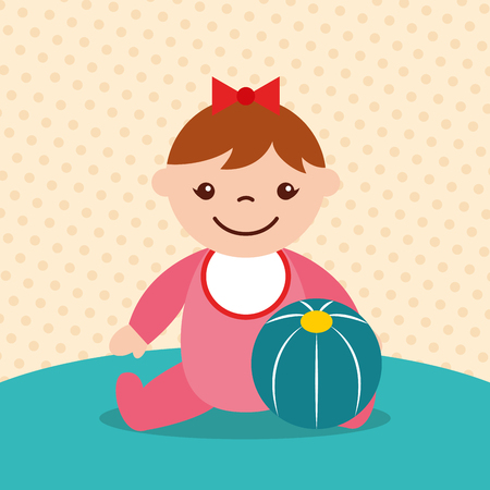cute little girl with rubber ball toy vector illustration